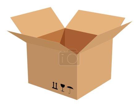 Illustration for Corrugated cardboard box isolated on white background. - Royalty Free Image