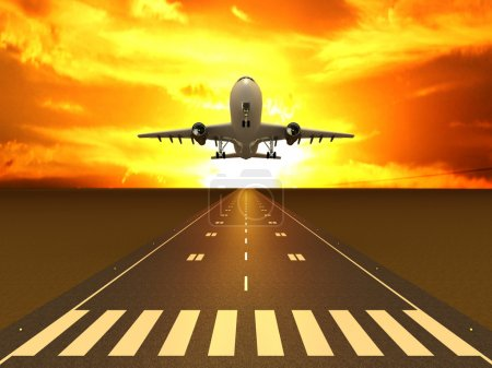 Photo for The plane on the runway at sunset - Royalty Free Image