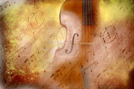 Photo pour Musique de fond grunge, de basse et de notes de musique - image libre de droit