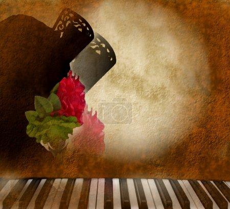 Photo for Card background silhouette Andalusian woman flamenco singer and piano - Royalty Free Image