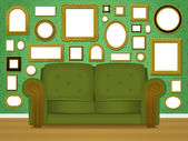 Retro livingroom interior vector with an upholstered green couch in front of a wallpapered wall covered in multiple empty blank picture frames in a variety of shapes and sizes
