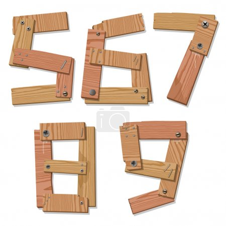 Rustic Wood Font Digits Numbers Letters 56789