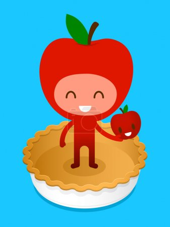 Illustration for A friendly cartoon character, standing on a baked pie crust holding a smiling apple, illustration cartoon characters. - Royalty Free Image