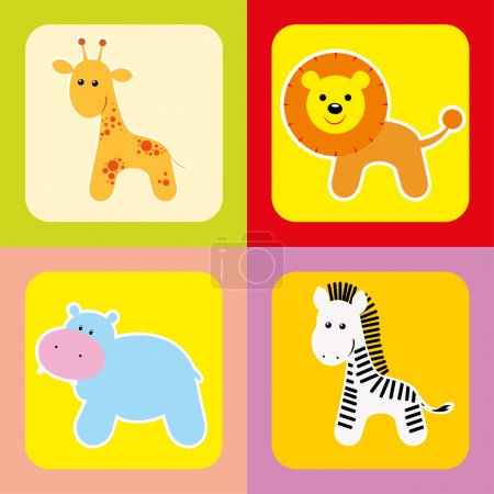 Vector set of cute african animals-1