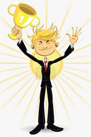 Illustration for Confident Businessman With Black Suit And Red Tie, Having An Award And Promotion Through His Careers. Holding A Cup And Smile - Royalty Free Image