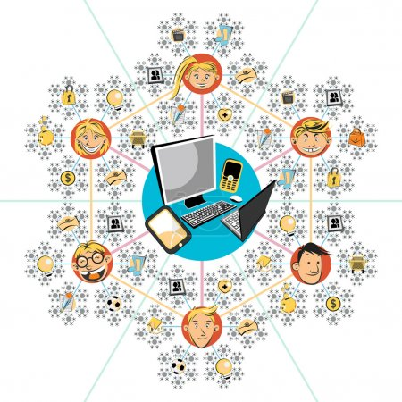 Illustration for Social networks Illustration. Useful As Icon, Illustration , Banners and Background For Social Media Theme and Web. - Royalty Free Image