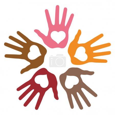 Circle of 5 loving hand prints