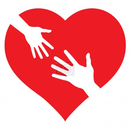 Child's Hand and Adult Hand on heart