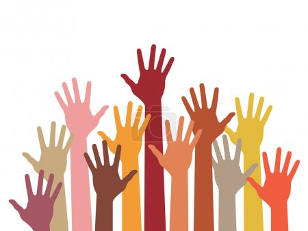 Illustration for Raised hands, abstract vector illustration - Royalty Free Image