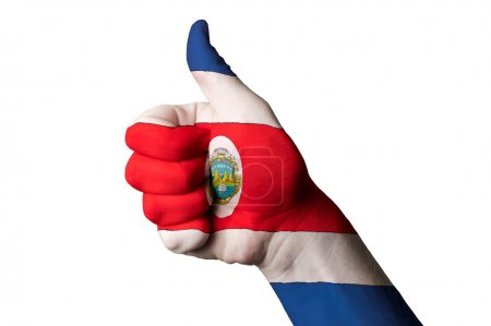Costarica national flag thumb up gesture for excellence and achi