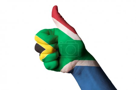South africa national flag thumb up gesture for excellence and a