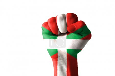 Fist painted in colors of basque flag