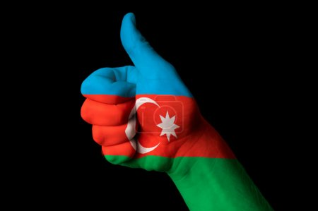 Azerbaijan national flag thumb up gesture for excellence and ach