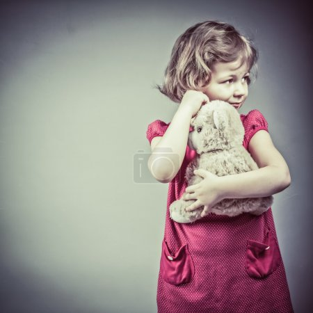 Photo for Portrait of little girl with teddy bear - Royalty Free Image