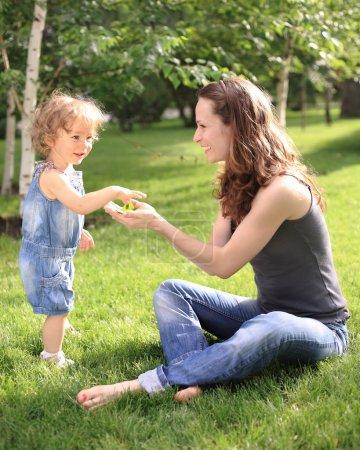 Woman with child having fun