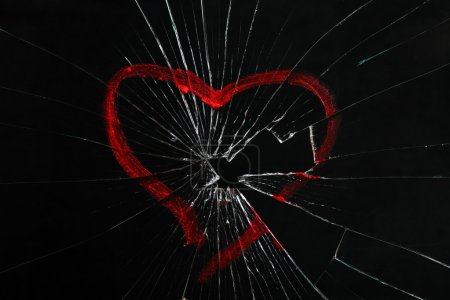 Photo for Broken glass with drawn heart - Royalty Free Image