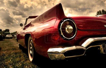 Close up shot of a vintage car