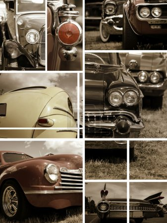 Photo for Classic car collage made from seven pictures - Royalty Free Image