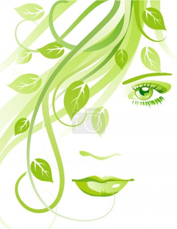 Illustration for Beautiful face with green leaves - Royalty Free Image