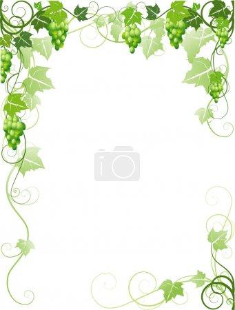 Illustration pour Cadre décoratif avec raisins - image libre de droit