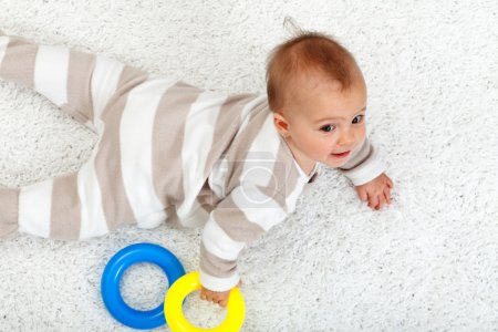 Young baby girl on the floor