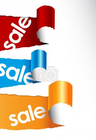 Set of teared papers with sale signs.