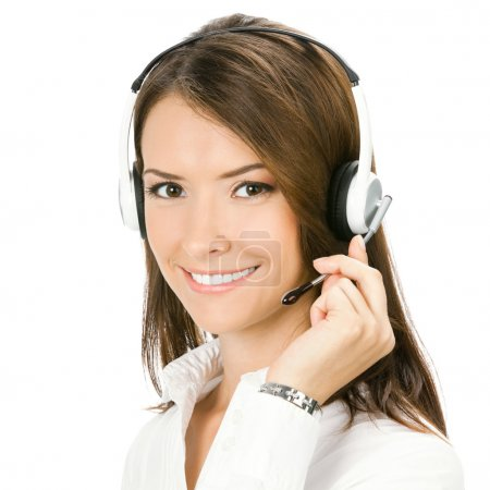 Foto de Retrato de feliz sonriente alegre hermosa joven cliente soporte operador de telefonía en auricular, aislado sobre fondo blanco - Imagen libre de derechos