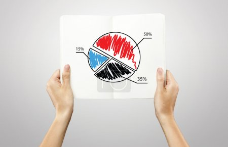 Female hands holding a white notebook with pie chart graph