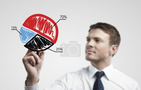 Young business man drawing a colorful pie chart graph with percentages on a glass window in an office - focus is on graph.