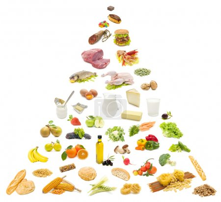 Photo for Variety of food on white background, forming a food pyramid - Royalty Free Image