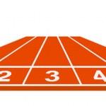 Running track - start position on white background...