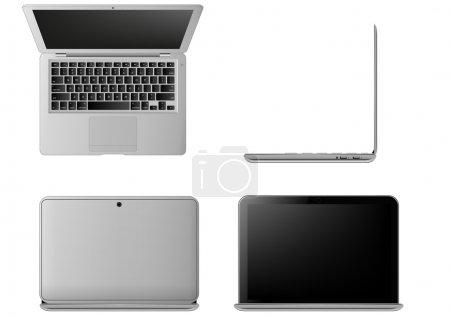 Illustration pour Illustration d'un ordinateur portable, vue sous différents angles - image libre de droit