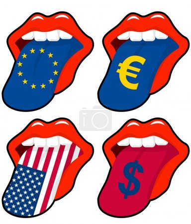 Illustration for Illustration of mouth with european and american money symbol - Royalty Free Image