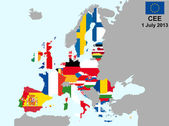 Illustration of european union map with flags from 1 july 2013