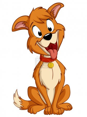 Cartoon silly dog with red collar
