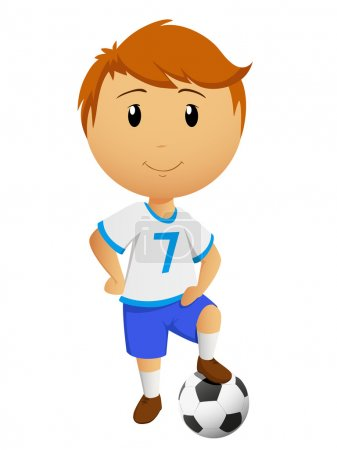 Cartoon footballer or soccer player with ball isol...