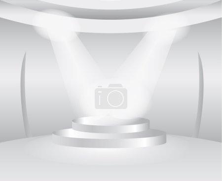 Illustration pour Salle blanche ronde avec scène pour le produit d'exposition - image libre de droit