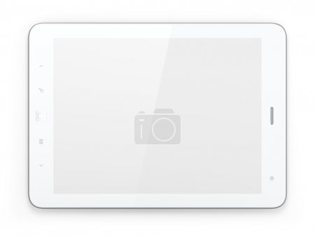 Photo for High-detailed white tablet pc on white background, 3d render. - Royalty Free Image