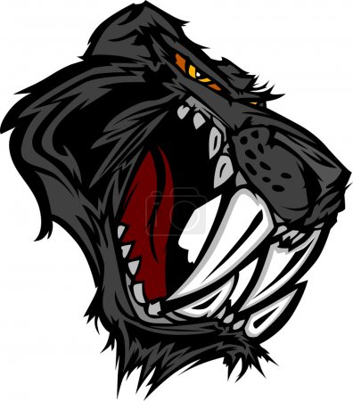 Illustration for Graphic Vector Mascot Image of a Saber Cat Black Panther Head - Royalty Free Image