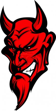 Graphic Vector Image of a Demon or Devil Mascot He...