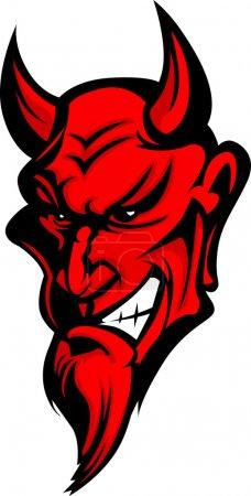 Illustration pour Image vectorielle graphique d'une tête de mascotte de démon ou de diable - image libre de droit