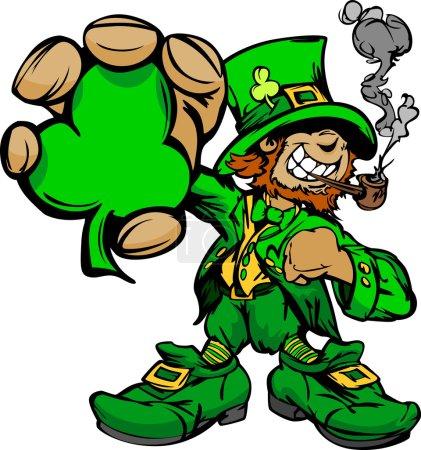 Illustration pour Happy Cartoon Leprechaun sur St Patricks Day Illustration vectorielle de vacances - image libre de droit