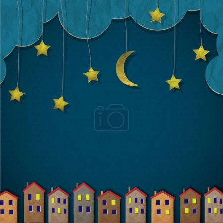 Illustration for Paper town at night. Creative vector eps 10 - Royalty Free Image