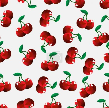 Illustration for Seamless cherry background. Vector illustration - Royalty Free Image