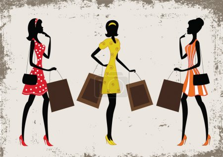 Illustration for Silhouettes of a women shopping, vintage style - Royalty Free Image