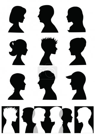 Illustration for Silhouettes, profiles of men and women - Royalty Free Image