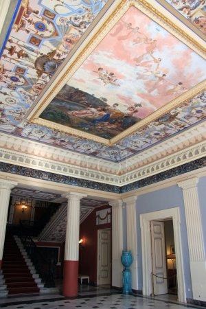 Reception area with the big fresco