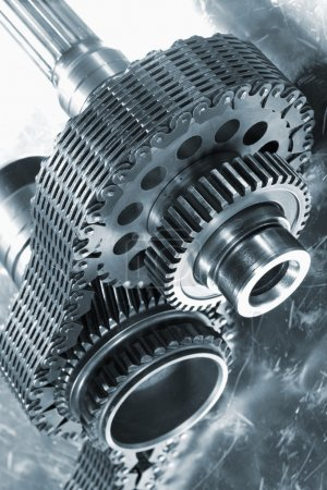 Photo for Titanium gears and cogs, used in the rocket and aerospace industry, giant timing-chain. - Royalty Free Image