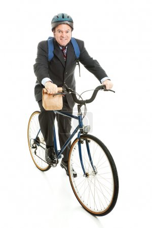 Businessman Bicycles to Work