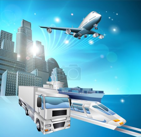 Illustration for Illustration of transport vehicles and city with blue background. Logistics or delivery concept - Royalty Free Image